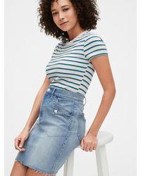 Gap Fold Over Pocket Denim Skirt - Blue