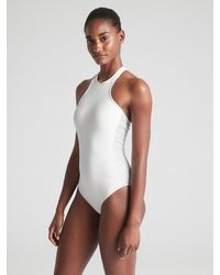 Gap Fit High-neck Zip One-piece Suit - White