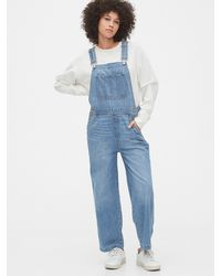 Gap Relaxed Denim Overalls - Blue