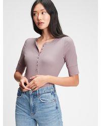 Gap Ribbed Henley T-shirt - Purple