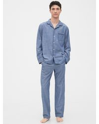 Gap Adult Poplin Pajama Set - Blue