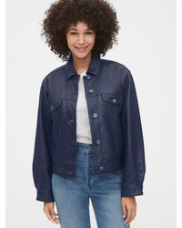 Gap Cropped Leather Icon Jacket - Blue