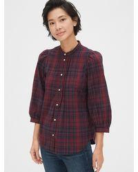 Gap Puff Sleeve Pintuck Shirt - Purple
