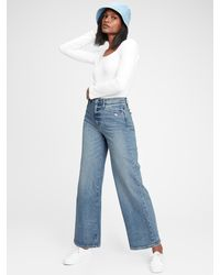 Gap Sky High Wide-leg Jeans With Washwelltm - Blue