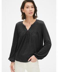 87806e1c4ec107 Gap Modern Long Sleeve Crewneck T-shirt in Black - Lyst