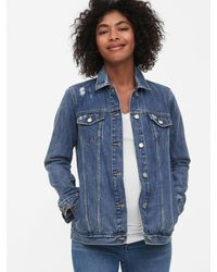 Gap Maternity Icon Distressed Denim Jacket - Blue