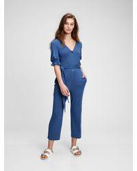 Gap Button-front Jumpsuit - Blue