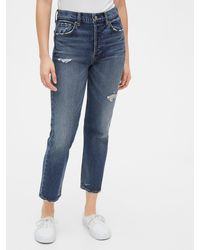 Gap High Destructed Rise Cheeky Straight Jeans - Blue