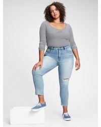 Gap High Rise Destructed Cigarette Jeans With Secret Smoothing Pockets - Blue