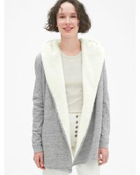 Gap - Sherpa-lined Hooded Wrap Cardigan Sweatshirt - Lyst