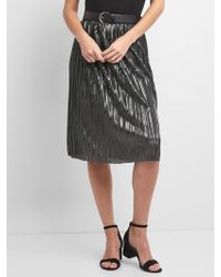 Gap - Metallic Pleated Midi Skirt - Lyst