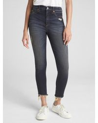 Gap - High Rise True Skinny Ankle Jeans In Distressed - Lyst