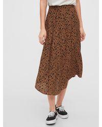 Gap Dipped Hem Midi Skirt - Brown