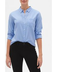 GAP Factory Fitted Boyfriend Shirt In Oxford - Blue