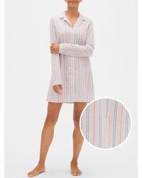 GAP Factory Print Sleep Shirt In Poplin - Pink