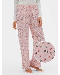 GAP Factory Print Pants In Poplin - Pink