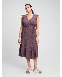 GAP Factory Midi Wrap-front Dress - Purple