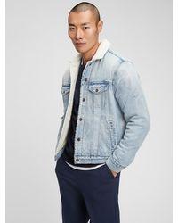 GAP Factory Sherpa-lined Denim Icon Jacket - Blue