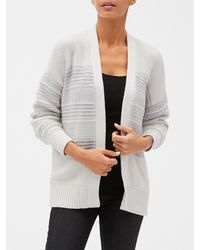 GAP Factory Mix-stitch Open-front Cardigan Sweater - Gray