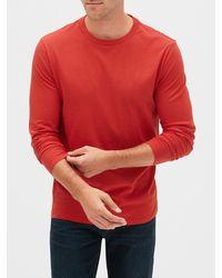 GAP Factory Long Sleeve Everyday Crewneck T-shirt - Red
