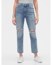 GAP Factory High Rise Distressed Cigarette Jeans - Blue