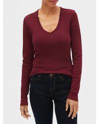 GAP Factory Long Sleeve V-neck T-shirt - Red