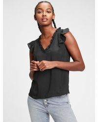 GAP Factory Ruffle Sleeve Top - Black
