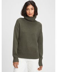 GAP Factory Oversized Cropped Turtleneck Sweater - Green