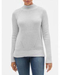 GAP Factory Textured Mockneck Pullover Sweater - Gray