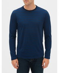 GAP Factory Stripe Long Sleeve Crewneck T-shirt - Blue