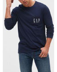 GAP Factory Gap Logo Long Sleeve Pocket T-shirt - Blue