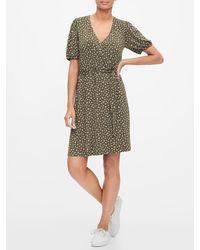 GAP Factory Short Sleeve Wrap Dress - Green