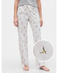 GAP Factory Print Pants In Poplin - Gray