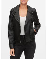 GAP Factory Faux Leather Moto Jacket - Black