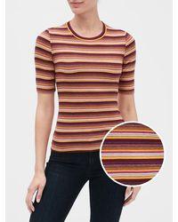 GAP Factory Stripe Ribbed Elbow Sleeve Crewneck T-shirt - Multicolor