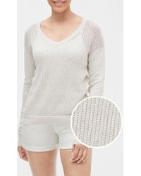 GAP Factory Open-stitch V-neck Sweater - Gray