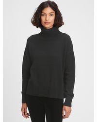 GAP Factory Oversized Cropped Turtleneck Sweater - Black