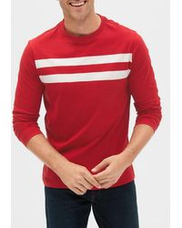 GAP Factory Stripe Long Sleeve Crewneck T-shirt - Red