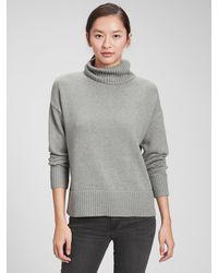 GAP Factory Oversized Cropped Turtleneck Sweater - Gray
