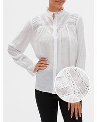 GAP Factory Lace-trim Pintuck Shirt - White
