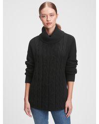 GAP Factory Cable-knit Turtleneck Sweater - Black