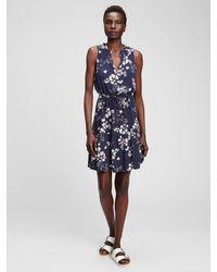 GAP Factory Sleeveless Tie-belt Dress - Blue