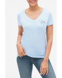 GAP Factory Gap Logo Graphic T-shirt In Cotton Modal - Blue