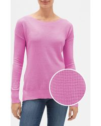 GAP Factory Textured Boatneck Sweater - Pink