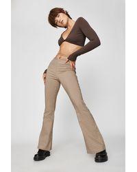 Garage Plaid Lace-up Flare Pant - Natural