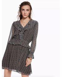 Maison Scotch Voile Ruffle Dress - Gray