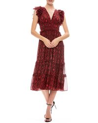 Ulla Johnson Anika Midi Dress - Red