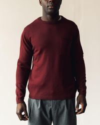 Merz B. Schwanen Relaxed Pullover With Pocket - Red