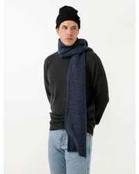 Norse Projects Mens Norse Brushed Scarf - Blue