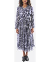Sara Lanzi Long Sleeve Muslin Wrap Dress - Blue